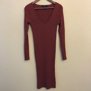 Forever21+ Rust V-neck Midi sweater dress -Size0X